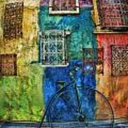 Old Fashion Bike And Blue Wall Poster
