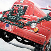 Old Firetruck At Christmas Poster