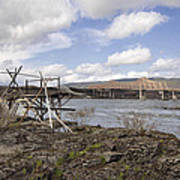 Old Fishing Platform By The Dalles Bridge Poster