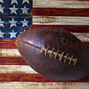 Old Football On American Flag Poster by Garry Gay