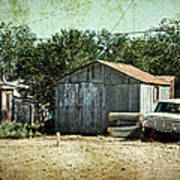 Old Garage And Car In Seligman Poster