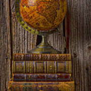 Old Globe On Old Books Poster
