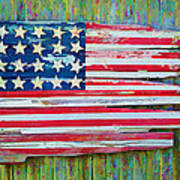 Old Glory In Wood Impression Poster