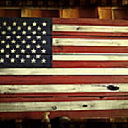 Old Glory In Wood Poster