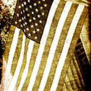Old Glory Sepia Rustic Poster