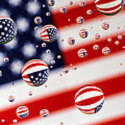 Old Glory Water Drops Poster