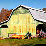 Old Green Barn South Of Rosman Poster