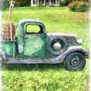 Old Green Pickup Truck Poster