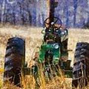 Old Green Tractor On The Farm Poster