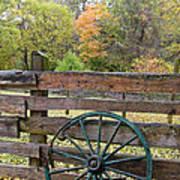 Old Green Wagon Wheel Poster