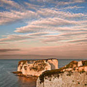 Old Harry Rocks Jurassic Coast Unesco Dorset England At Sunset Poster by Matthew Gibson