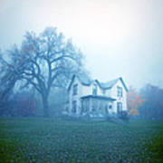 Old House In Fog Poster