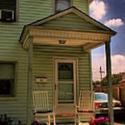 Old Houses - New Jersey - In The Oranges - Green House With Flower Pots And Rocking Chairs - Color Poster
