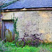 Old Irish Cottage With Bike By The Door Poster
