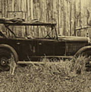 Old Jalopy Behind The Barn Poster