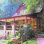 Old Log Cabin Home Poster