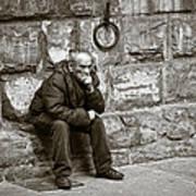 Old Man Pondering Poster