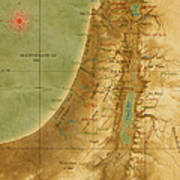 Old Map Of The Holy Land Poster