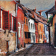 Old Medieval Street In Sighisoara Citadel Romania Poster