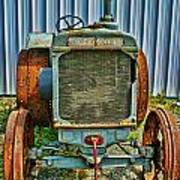 Old Metal Wheeled Tractor Hdr Poster