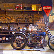 Old Motorcycle Shop 2 Poster