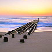 Old Ocean Pier At Dawn Poster