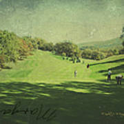 Old Postcard Of Golf Buddies At The Homestead Poster