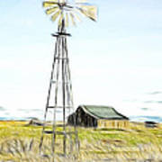 Old Ranch Windmill Poster