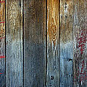 Old Reclaimed Wood - Rustic Red Painted Wall  Poster