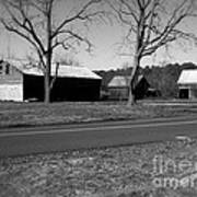 Old Red Barn In Black And White Poster