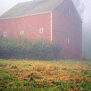 Old Red Barn In Fog Poster