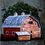 Old Red Barn On Slate Poster