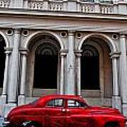 Old Red Car In Havana Poster