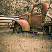 Old Red Farm Truck Poster