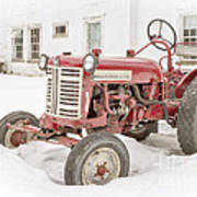 Old Red Tractor In The Snow Poster