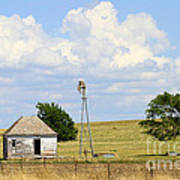 Old Rush County Farmhouse With Windmill Poster
