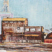 Old Rustic Schnitzer Steel Building With Crane And Ship Poster by Asha Carolyn Young