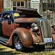 Old Rusty Car At The Old Shop  Ca5083a-14 Poster