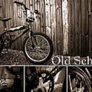 Old School Bmx - Pk Collage Bw Poster by Jamian Stayt