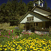 Old Schoolhouse And Garden. Poster