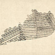 Old Sheet Music Map Of Kentucky Poster