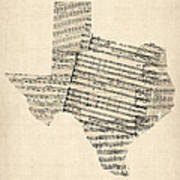 Old Sheet Music Map Of Texas Poster by Michael Tompsett