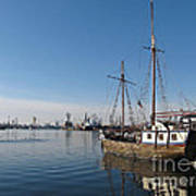 Old Ship In Calm Water Harbor Poster