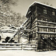 Old Snow Covered Quarry Mill Poster