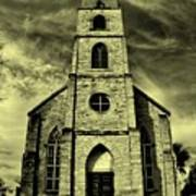 Old St. Mary's Church In Fredericksburg Texas In Sepia Poster