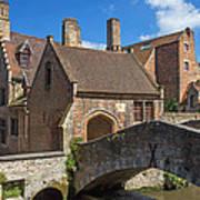 Old Stone Bridge In Bruges  Poster