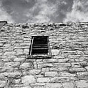 Old Stone Wall Black And White Photograph Poster