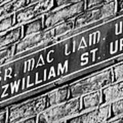 Old Style Green And White Fitzwilliam Street Upper Sign In Irish And English In Dublin On Red Brick Wall Poster
