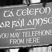 Old Style Weathered You May Telephone From Here Green And Gold Sign In Irish And English In Dublin Poster