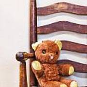 Old Teddy Bear Sitting In Chair Poster by Birgit Tyrrell